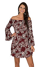 James C Women's Maroon & White Paisley Print Long Bell Sleeve Dress