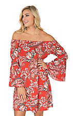 James C Women's Red & Black Paisley Print Long Bell Sleeve Dress