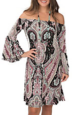 James C Women's Black with Pink and Mint Paisley 3/4 Bell Sleeve Dress
