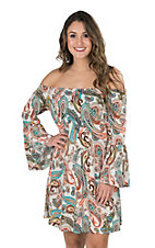 James C Women's Taupe and Turquoise Paisley Print Long Bell Sleeve Dress