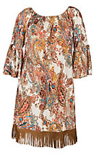 James C Women's Cream, Rust and Teal Paisley and Fringe Off the Shoulder Dress - Plus Size