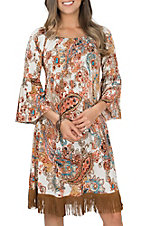 James C Women's Cream, Rust and Teal Paisley and Fringe Off the Shoulder Dress