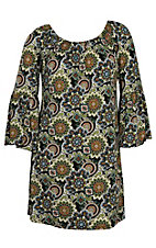 James C Women's Green Paisley Print Long Bell Sleeve Dress - Plus Size