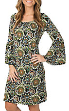 James C Women's Green Paisley Print Long Bell Sleeve Dress