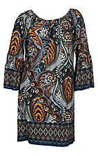 James C Women's Navy and Mustard Border Print Dress - Plus Size