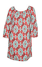 James C Women's Red and Mint Paisley Print 3/4 Bell Sleeve Dress - Plus Size