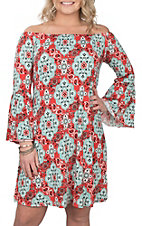 James C Women's Red and Mint Paisley Print 3/4 Bell Sleeve Dress