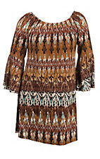James C Women's Taupe and Mint Print Long Bell Sleeve Dress - Plus Size