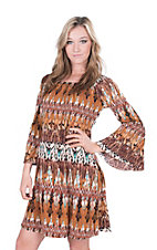 James C Women's Taupe and Mint Print Long Bell Sleeve Dress
