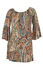 James C Women's Olive and Purple Paisley Print 3/4 Bell Sleeve Dress - Plus Sizes
