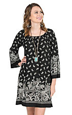 James C Women's Black and White Bandana Print Long Bell Sleeve Dress