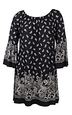 James C Women's Black and White Bandana Print Long Bell Sleeve Dress - Plus Size