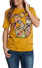 XOXO Art & Co. Women's Mustard Round Neck Patchwork Cactus T-Shirt
