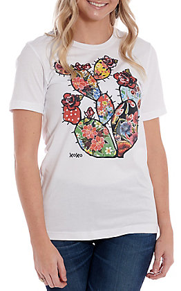 XOXO Art Co. Women's White Oil Cloth Cactus Short Sleeve T-Shirt