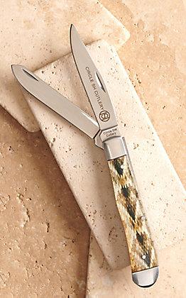 Circle SH Cutlery Acrylic Rattlesnake Print Trapper Knife