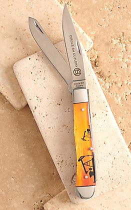 Circle SH Cutlery Acrylic Orange Pumpjack Print Trapper Knife