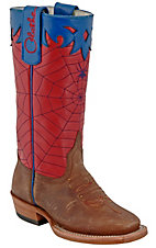 Olathe Kids Distressed Brown w/ Red & Blue Spiderweb Top Square Toe Western Boots