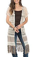 Origami Women's Natural with Tan Crochet and Fringe Duster Vest