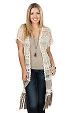 Origami by Vivien Women's Beige Crochet Short Sleeve Long Vest