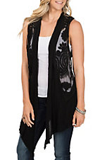 Origami Women's Chiffon Trim with Embroidery Black Vest