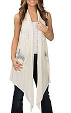 Oriami Women's Cream Crochet Chiffon Trim Vest