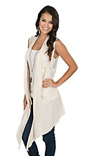 Origami Women's Chiffon Trim with Embroidery Ivory Vest