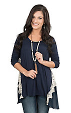 James C Women's Navy with Cream Crochet Details 3/4 Sleeve Tunic Fashion Top