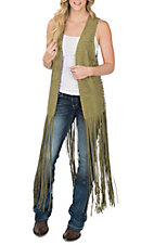 Crazy Train Women's Olive Fringe Duster Vest