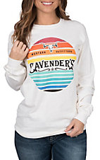 Cavender's Women's Ivory Longhorn Long Sleeve T-Shirt