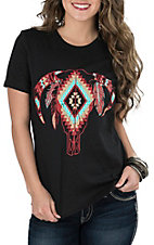 Crazy Train Women's Black Aztec Bull Skull with Feathers Short Sleeve Casual Knit Shirt