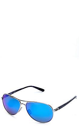 Oakley Feedback Polished Chrome with Prizm Sapphire Polarized Lenses Sunglasses