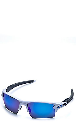Oakley Flak 2.0 XL White with Prizm Sapphire Polarized Lenses Sunglasses