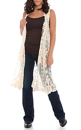 Origami Women's Natural Lace Sleeveless Vest