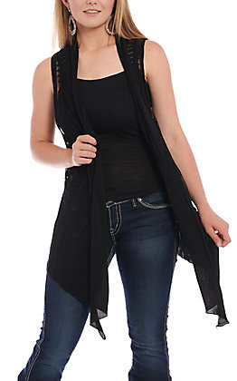 Origami Women's Black Chiffon Trim Sleeveless Vest
