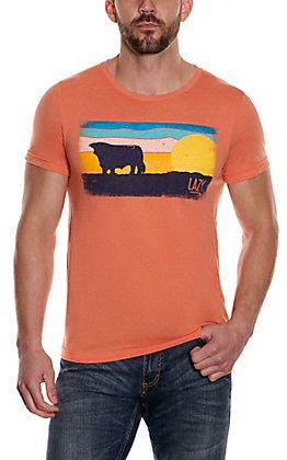 Lazy J Men's Orange Sunset Graphic Short Sleeve T-Shirt