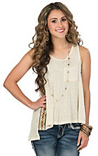 Vintage Havana Women's Woven Ivory with Aztec Embroidered Taping Tank