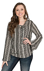 Vintage Havana Women's Ivory and Black Tribal Stripe Lace Up Fashion Top