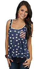 Others Follow Women's Blue Stars & Stripes Open Back Tank