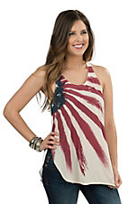 Others Follow Women's Cream with Sunburst Flag Racer Back Tank Top