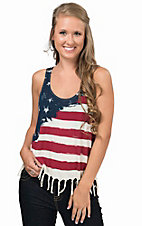 Others Follow Women's Cream with Flag Front Fringe Bottom Sleeveless Tank Top