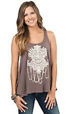 Others Follow women's Purple Grey with Cream Screen Print Tank