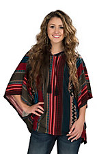 Vintage Havana Women's Burgundy and Teal Stripe Poncho
