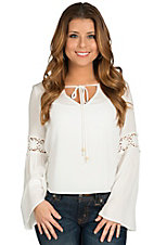 Surf Gypsy Women's White with Crochet Trim Bell Sleeve Top