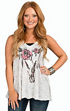 Vintage Havana Women's Heather Ivory with Floral Skull Print V-Neck Tank