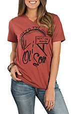 Rodeo Time Dale Brisby Women's Clay On To The Next One V-Neck Casual Knit Shirt