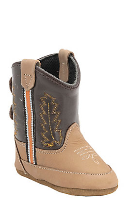 Old West Infant Poppet Tan and Chocolate Western Booties