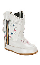 Old West Infant White with Fringe and Embroidery  Round Toe Boot