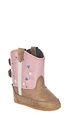 Old West Tan Vintage with Pink Western Infant Booties