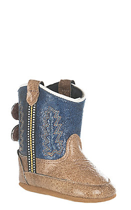 Old West Tan Vintage with Blue Western Infant Booties