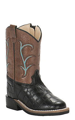 Old West Toddler Black Croc Print and Brown Square Toe Western Boot